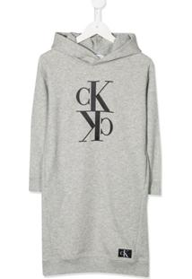 Calvin Klein Kids Vestido Com Capuz E Logo - Cinza