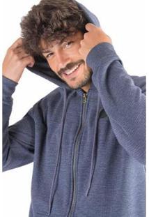 Casaco De Moletom Mescla Efeito Micro Pontos Masculina - Masculino-Azul