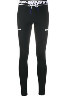 Off-White Legging Com Estampa De Logo E Cordão De Ajuste - Preto