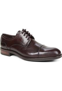 Sapato Social Couro Shoestock Cadarço Masculino - Masculino-Café