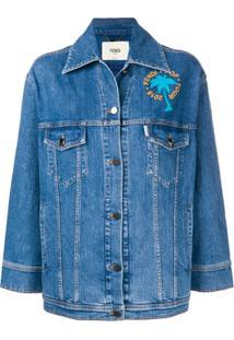Fendi Jaqueta Jeans Com Aplicações - Azul