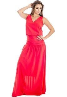 Vestido Longo Com Drapeado Ana Hickmann - Feminino