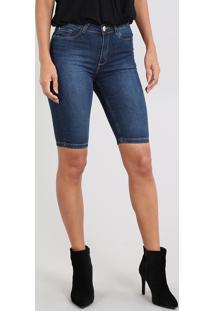 Bermuda Jeans Feminina Ciclista Com Bolsos Azul Escuro