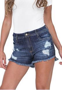 Short Jeans Lança Perfume Destroyed Azul