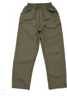 Calça De Sarja Com Elástico Cáqui Verde Tóing