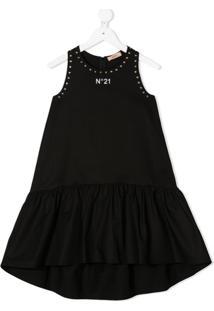 Nº21 Kids Vestido Com Detalhe De Tachas - Preto