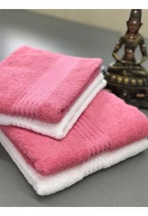 Jogo 4 Peças Toalhas Banho E Rosto Prisma Af1290 - Branco E Rosa