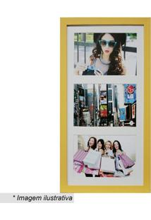 Painel Insta Para 3 Fotos- Amarelo & Branco- 38X21X1Kapos