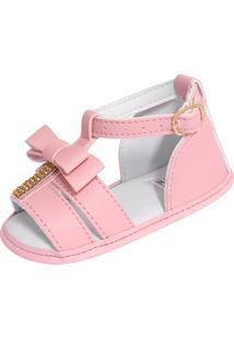 Sandália Para Bebê Lugui Menina Com Tornozelo Rosa