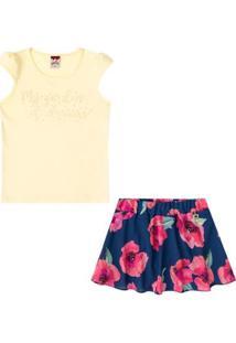 Conjunto Infantil Baby Look E Saia Shorts Boca Grande Feminino - Feminino-Amarelo+Azul