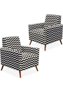 Kit 02 Poltronas Decorativas Lyam Decor Liz Zig Zag Preto