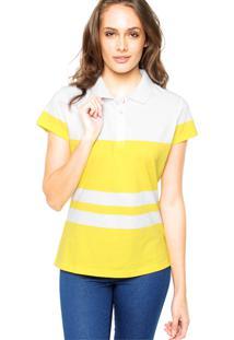 6ad2278a61 Camisa Polo Manga Curta Lunender Listras Amarela