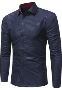 Camisa Masculina Slim Manga Longa - Azul Marinho P
