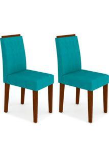Conjunto Com 2 Cadeiras Amanda Castanho E Turquesa
