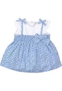 Vestido Manga Curta - Fake Estampas - 100% Algodão - Branco - Tilly Baby - Gg