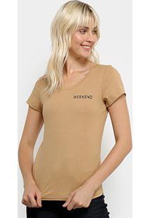 Camiseta Top Modas Weekend Feminina - Feminino-Marrom