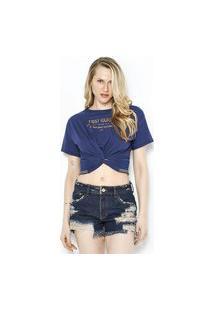 T-Shirt Det. Torçao Na Barra Azul Azul