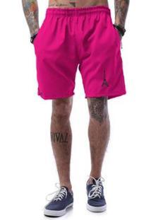 Bermuda Tactel Neon Cellos Eifel Tower Premium - Masculino-Rosa
