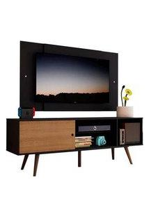 Rack Madesa Cairo E Painel Para Tv Até 58 Polegadas Com Pés De Madeira - Preto/Rustic D8D8 Preto
