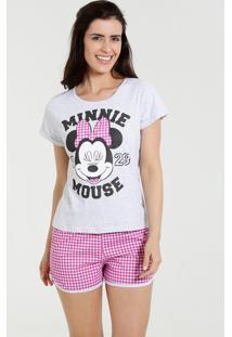 Pijama Feminino Short Doll Minnie Xadrez Disney