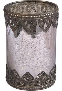 Castiçal De Vidro Decorativo Copo 8X12,5Cm
