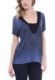 Blusa Energia Fashion Decote V Animal Print Azul