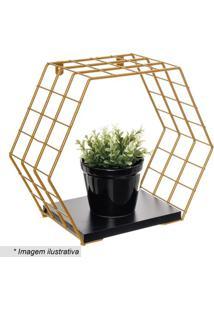 Cubo Hexagonal Com Prateleira Decorativo- Dourado & Pretmetaltru