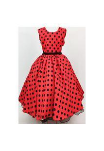 Vestido De Festa Infantil Giovanella Lady Bug Minnie Vermelha Regata 4 Ao 16