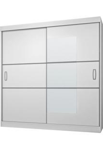 Guarda-Roupa Casal Com Espelho 2Pt 4Gv Atraente Flex Branco/Preto/Branco