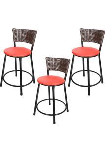 Banquetas Baixa Para Cozinha Hawai Café 3Un Assento Preto/Vermelho