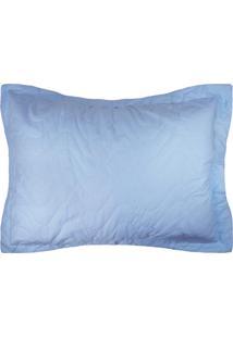 Porta Travesseiro Percal 300 Fios 50X70- Azul - Appel