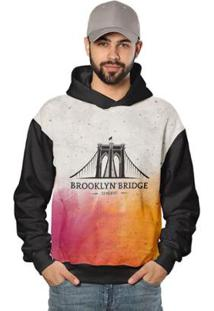 Casaco De Moletom Brooklyn Bridge Di Nuevo Masculino - Masculino-Preto