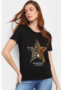 Camiseta Facinelli Star Feminina - Feminino-Preto