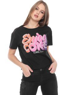 Camiseta Coca-Cola Jeans Lettering Preta