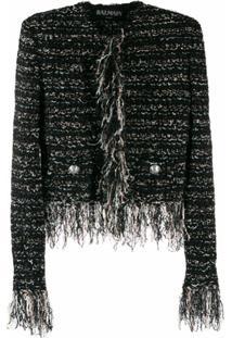 Balmain Jaqueta De Tweed Com Acabamento Desfiado - Preto