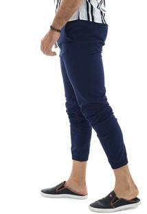 Calça Jogger Masculina Slim Com Lycra Azul Marinho Multicolorido