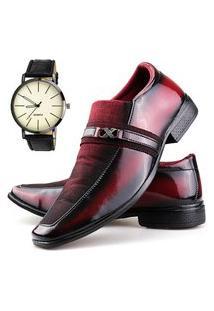 Sapato Social Neway Vermelho + Relógio