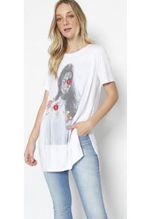 Camiseta Com Bordado Floral - Branca & Pink- M. Offim. Officer