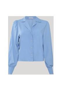 Camisa Feminina Ampla Manga Bufante Azul Claro