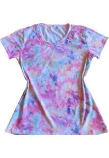 Camiseta Tie Dye Rosa Feminina - Feminino-Colorido