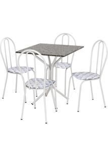 Conjunto De Mesa Thais Com 4 Cadeiras Branca Capitonê