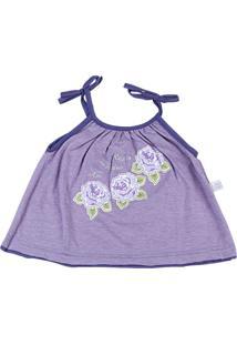 Conjunto Ano Zero Bebê Malha Mescla E Cotton Roses Garden - Lilás P