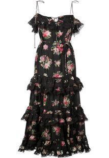 Zimmermann Vestido Honour Floral Com Babados - Preto