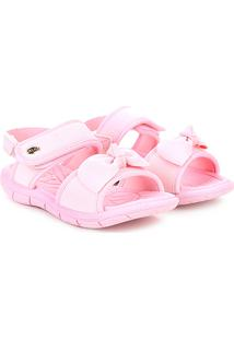 Sandália Infantil Klin Laço Velcro Tic Tac Menina - Feminino-Rosa Claro eb6f164687cc1
