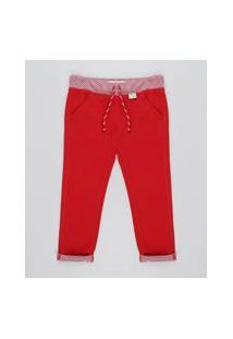 Calça Infantil Com Cordão E Bolsos Vermelha