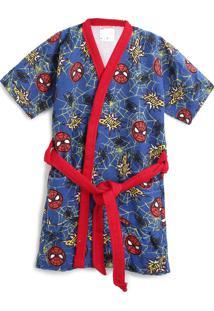 Roupão Aveludado Lepper Infantil Quimono Spider Man