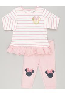 5dbf445d24 Conjunto Infantil Minnie De Blusa Listrada Manga Longa + Calça Legging Rosa