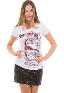 Camiseta Aes 1975 Dragon Ii Feminina - Feminino-Branco