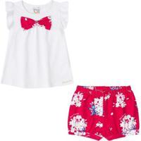 9969bccbf48 Conjunto Infantil Bebê Bata E Shorts Boca Grande Feminino - Feminino-Branco +Pink