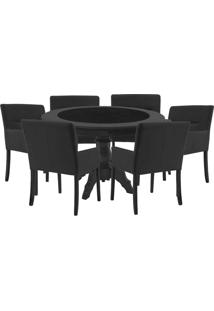 Mesa De Jogos Carteado Montreal Redonda Tampo Reversível Preto Com 6 Cadeiras Vicenza Preto Fosco - Gran Belo